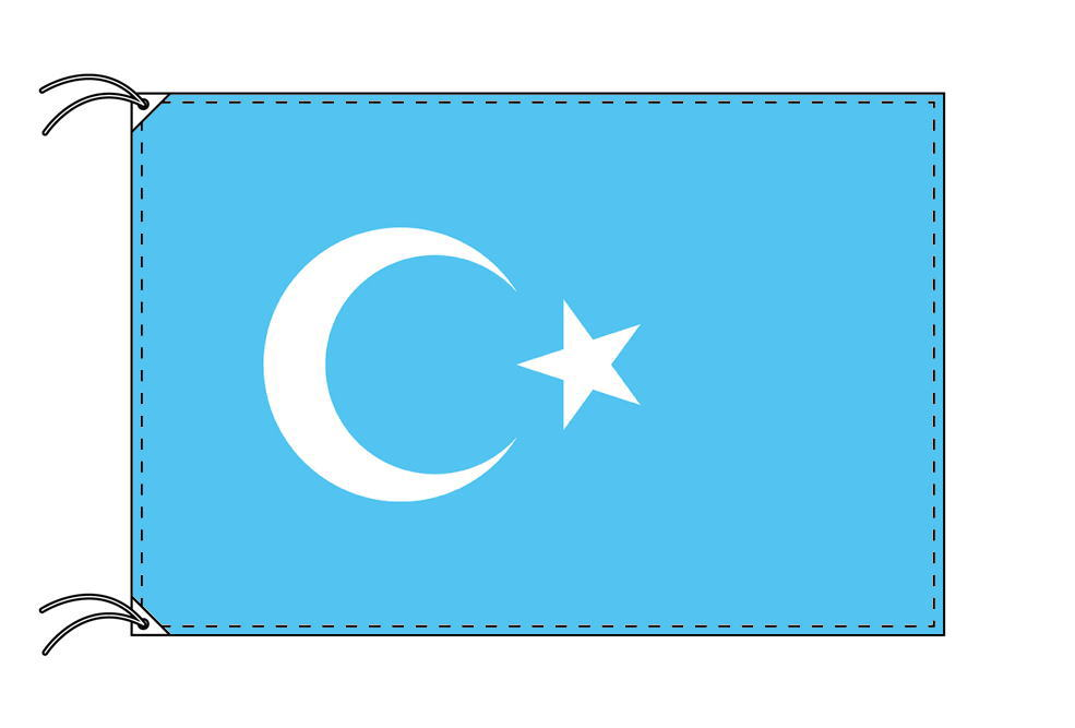 【レンタル】 3泊4日レンタル旗 東トルキスタン[ウィグル自治区]国旗[90×135cm国旗・3mポール・扁平玉・スタンド・高級テトロン製]安心の日本製