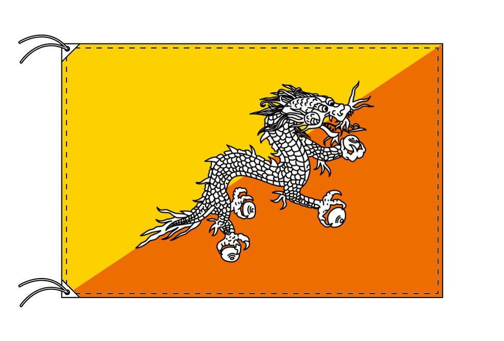 【レンタル】 3泊4日レンタル旗 ブータン国旗・付属品セット[90×135cm国旗・3mポール・扁平玉・スタンド・高級テトロン製]安心の日本製