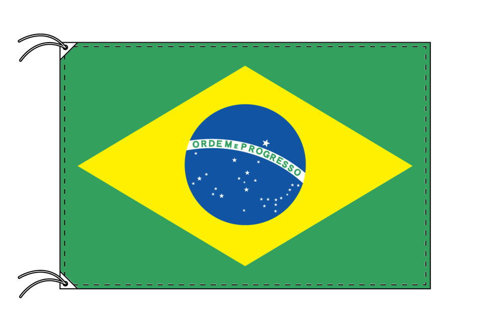【レンタル】 3泊4日レンタル旗 ブラジル国旗・付属品セット[90×135cm国旗・3mポール・扁平玉・スタンド・高級テトロン製]安心の日本製