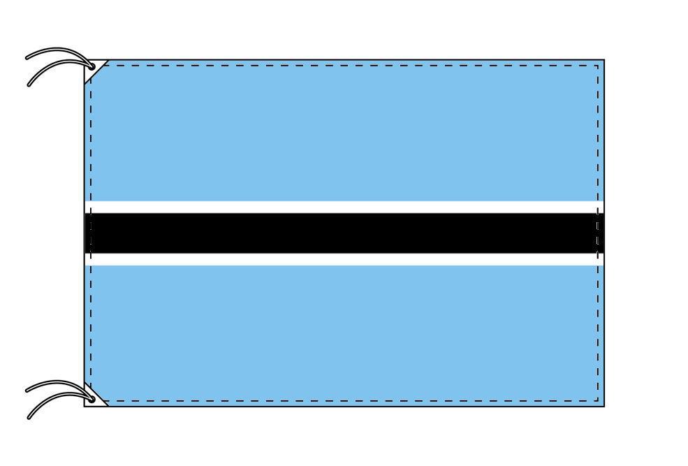 【レンタル】 3泊4日レンタル旗 ボツワナ国旗・付属品セット[90×135cm国旗・3mポール・扁平玉・スタンド・高級テトロン製]安心の日本製