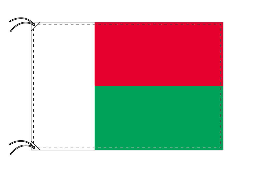【レンタル】 3泊4日レンタル旗 マダガスカル国旗・付属品セット[90×135cm国旗・3mポール・扁平玉・スタンド・高級テトロン製]安心の日本製