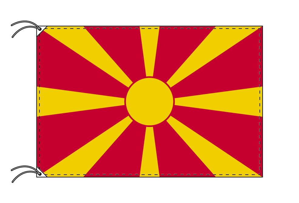 【レンタル】 3泊4日レンタル旗 マケドニア国旗・付属品セット[90×135cm国旗・3mポール・扁平玉・スタンド・高級テトロン製]安心の日本製