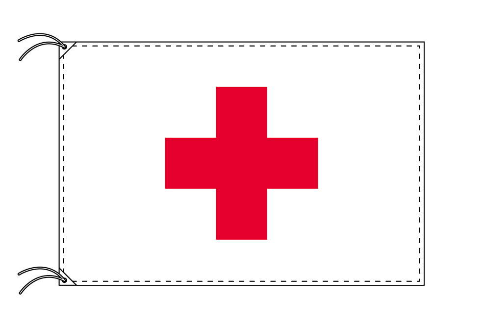 【レンタル】 3泊4日レンタル旗 赤十字・付属品セット[90×135cm国旗・3mポール・扁平玉・スタンド・高級テトロン製]安心の日本製