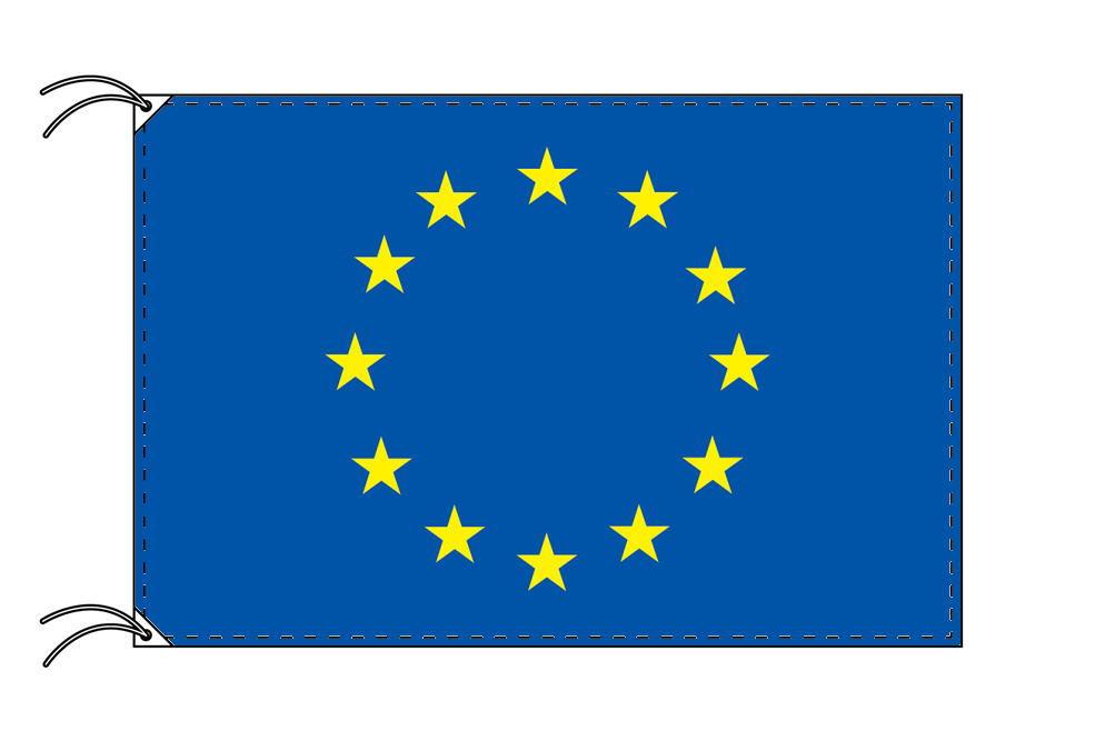 【レンタル】 3泊4日レンタル旗 EU[欧州連合]旗・付属品セット[90×135cm国旗・3mポール・扁平玉・スタンド・高級テトロン製]安心の日本製