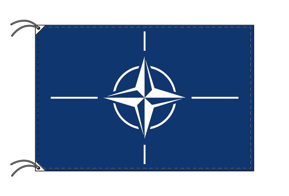 【レンタル】 3泊4日レンタル旗 NATO・付属品セット[北大西洋条約機構]国旗[90×135cm国旗・3mポール・扁平玉・スタンド・高級テトロン製]安心の日本製