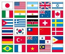 テトロン製・万国連続旗30カ国[S判・25×37.5cm]あす楽対応