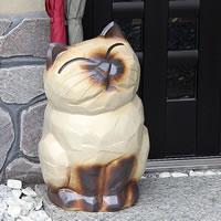 信楽焼猫傘立て(花瓶、花器)/可愛いネコが傘たてになりました!/玄関のインテリア!陶器/信楽焼…