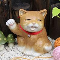 可愛い表情の猫おきもの!信楽焼ねこ/陶器ネコ/ねこ置物/しがらき/焼き物/ギフト/インテリア/…