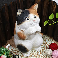 幸福ねこ置物信楽焼!陶器の可愛いネコ置物!インテリア/しがらきやき/ねこ/やきもの/猫置物/猫…
