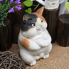 ボスねこ置物信楽焼!陶器の可愛いネコ置物!インテリア/しがらきやき/ねこ/やきもの/猫置物/猫…