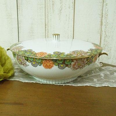 アンティーク チュリーン オールドノリタケ Noritake 1900年頃 花文様 ヴィンテージ 食器 陶磁器 キッチン雑貨 テーブルウェア 蓋付きボウル