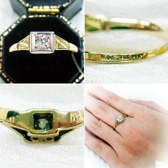 ◆アンティークジュエリーオールドカットダイヤモンド&プラチナマウント・ゴールドリング