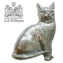 ピンバッジ(ラペルピン/ピンブローチ/ピンズ)スーツ メンズ・レディース 猫(ねこ) イギリス製 AEW社 ピューター/錫 ネコ [メール便OK]