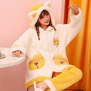 ふわもこ パジャマ ルームウェア 上下セット レディース 猫耳フード付き 秋冬 前開き パジャマ 可愛い もこもこ ふわふわ 猫柄 ねこ耳 ネコ耳 猫 にゃんこ 暖かい かわいい 寝巻き 部屋着 女子会 プレゼント ゆめかわ 防寒