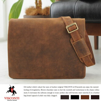 VISCONTI Messenger bags HARVARD / men's men's / shoulder bag and also bag A4 iPad / leather leather leather bag bag / shoulder bag / leather bags / flap /