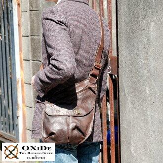 朝着供OXiDe古董挎包/男性使用的人/斜包/皮革包/A5 iPad mini/皮革書皮革馬皮革/包包包/軟管皮革/意大利製造/復古/