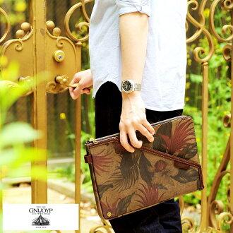 GNUOYP nyepi L-fasnarcratchbagg / for men mens / clutch back / Japan-A4 / canvas / fashion / Camo / botanical pattern / bag bag /