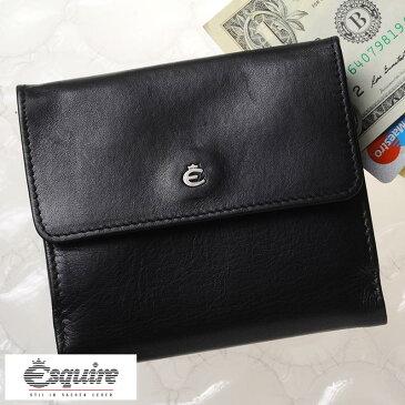 Esquire 二つ折り財布 小銭入れあり Harry Borse WS ブラック 0039-49 メンズ 大人 男性 本革 レザー 黒 ドイツ製 ブランド BOX型 小銭入れ ボックス型 スキミング 防止 シンプル ビジネス