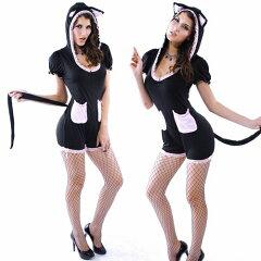 メール便不可 猫耳パーカー 猫耳帽子 猫耳オールインワン サロペット ハロウィン コスプレ ハロウィーン コスチューム 猫 ねこ ネココスチューム 仮装 シッポ 猫 女性 ハロウィンコスチューム