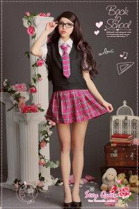 pinkチェック柄でメリハリ・ブレザー女子高生コスチューム