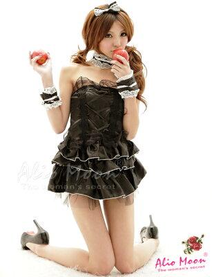 ドレスblack フリルひらひら愛らしい甘いルックスドレスのメイドコスプレ/通販/激安/ランジェ...