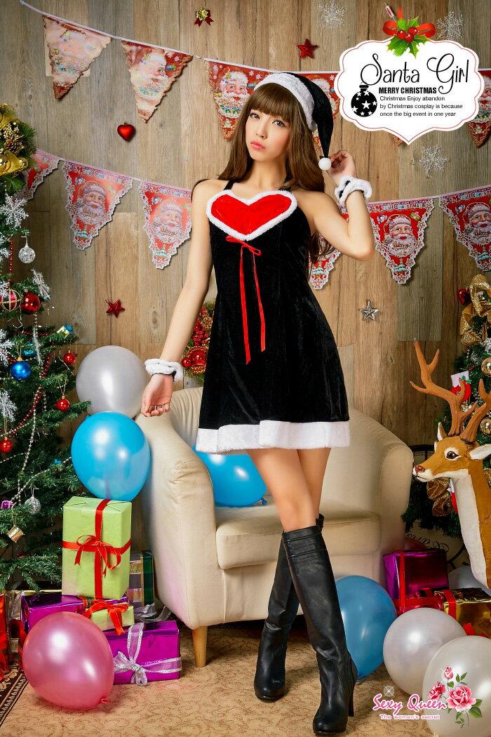 サンタコスプレレディース衣装サンタクロース衣装仮装クリスマスワンピースコスチューム入賞セクシーサンタパーティ赤黒コスプレ衣装こすぷれサンタコスサンタコスプレサンタ衣装クリスマスコスチュームクリスマスコスプレサンタ2015