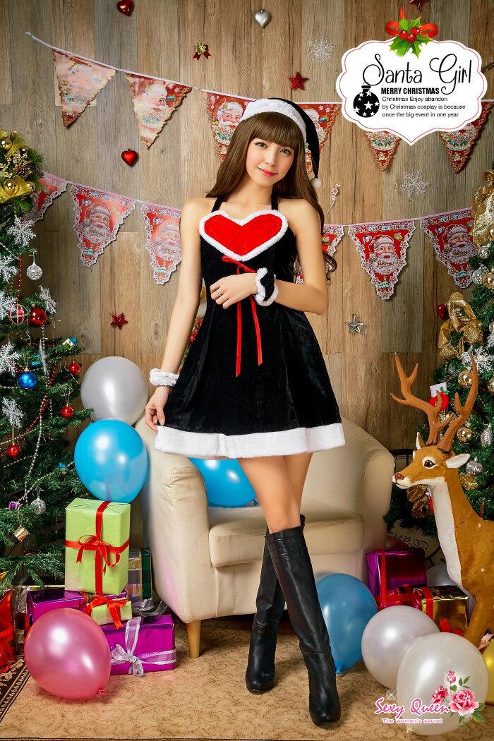 ブラックサンタコスプレクリスマスサンタコスチュームレディースかわいいサンタコスセクシーワンピースサンタコスプレサンタコスチュームレディースかわいいセクシーワンピースハートクイーン