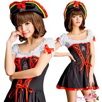 浮腫乳頭勞損萬聖節角色扮演服飾海盜海盜服裝化裝成人連體海盜帽子帽黑紅色服裝和角色扮演因為服裝婦女萬聖節服飾