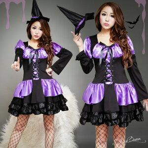 ハロウィン魔女コスプレ衣装悪魔仮装コスチュームウィッチロリータハロウィン黒紫魔女ハット魔法使い大人用レディースパーティイベントとんがり帽子セクシーネコポス不可