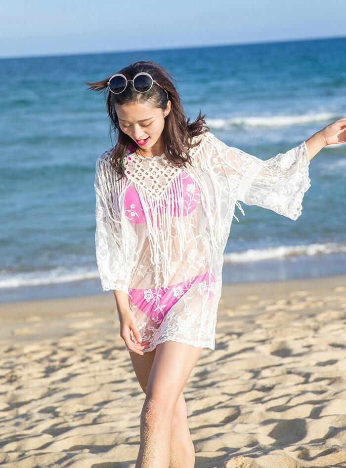 水着体型カバーレディース水着の上に着るボヘミアンフリンジニットチュールワンピースフレア袖水着の上トップスカバーアップビーチウェアリゾートビーチアイテム
