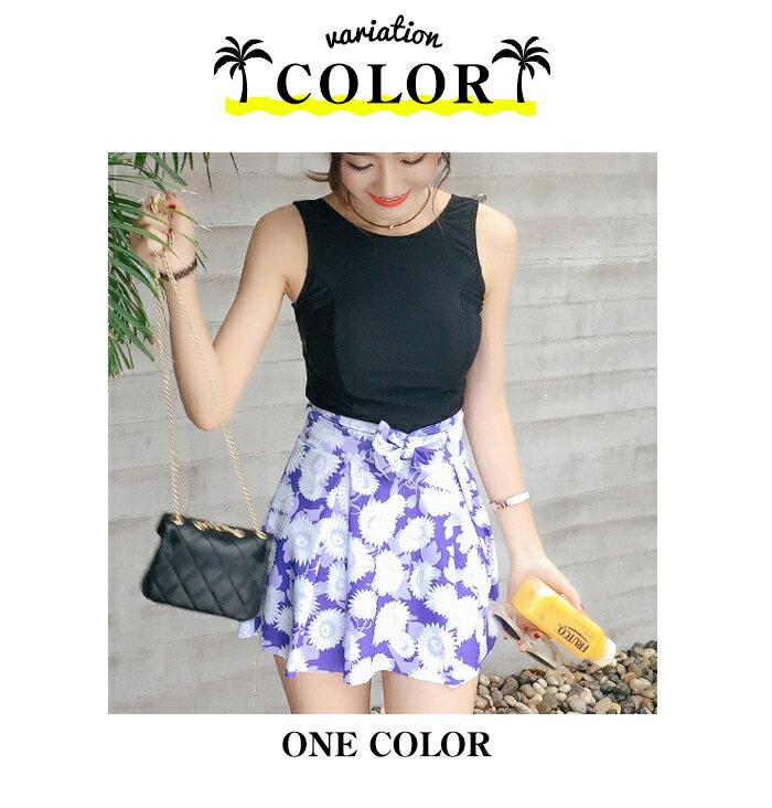 水着体型カバー大きいサイズタンキニ送料無料花柄ボタニカルスカート3点セットワンピースフラワー大柄ブラックパープルMLXLレディ?ス