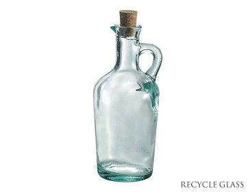 リサイクルガラス オイルボトル450cc(コルク付)【容量510cc・高19.2cm・ガラス製・保存ボトル・オイル詰め替え用ボトル・アンティーク風・インテリア・雑貨・ECO・エコ・RecyleGlass・スペイン】【trys光】