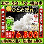 ■新米■29年産 宮城県産 ひとめぼれ 40kg(20kg袋×2)!玄米,5分,7分,精白米(精米時重量約1割減)【米】