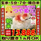 ■新米■29年産 宮城県産 つや姫 30kg!玄米,5分,7分,精白米(精米時重量約1割減)【米】