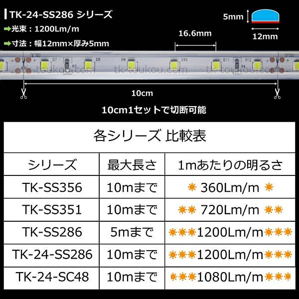 LEDテープライト シリコンチューブ TK-24-SSMD2835(60)-55K-10 白色(5500K) 60粒/m 単色 IP67 10m DC24V 屋外使用可能 AC/DCスイッチング電源付 ジャック付外径5.5mm×内径2.1mm DIY あす楽