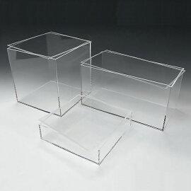 アクリル透明収納BOXW450mm×H75mm×D400mm4mm厚(アクリルケースクリアケースディスプレイケースショーケースディスプレイボックスクリアアクリル樹脂アクセサリージュエリーケース化粧品コスメ収納プラスチック箱展示用)