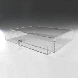 重厚引出し式アクリルケース横長タイプA4サイズ引出し深さ50mm透明ケース収納ケースアクリルBOXショーケースディスプレイケース