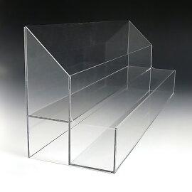 アクリルひな壇ケースW410×H150×D105(アクリルケースクリアケースディスプレイケースひな段ケースショーケースディスプレイ透明クリアアクリル樹脂アクセアクセサリージュエリーホビーケース化粧品コスメ収納プラスチック箱透明展示用)