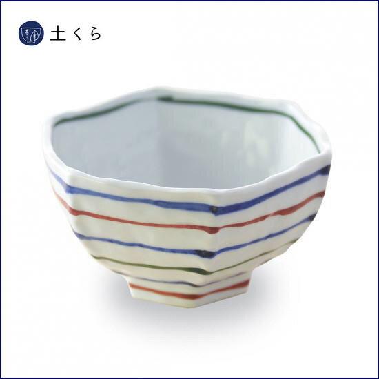 三色コマ筋 六角鉢【波佐見焼】