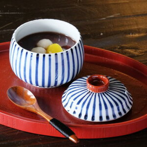 十草 むし碗【波佐見焼】日本製 国産 ギフト プレゼント 人気 おしゃれ 和食器 うつわ はさみ焼き ストライプ 蒸し碗 蓋物 蓋付碗 お正月 康創窯