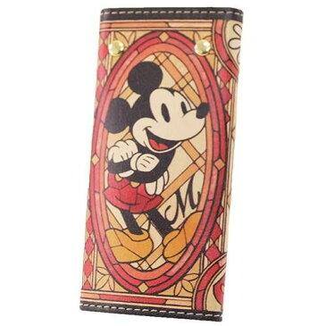 ミッキーマウス レザーキーケース ステンドグラスコレクション レザー製品 革製品 ディズニー