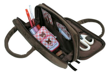 裁縫セットくまのがっこうWファスナーバッグジャッキーフェイス小学生女の子に人気♪大人も使えるかわいいソーイングセットコンパクトな裁縫箱ソーイングボックス学校教材家庭科