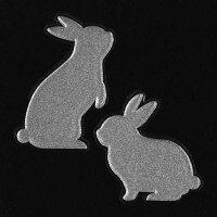 ウサギ雑貨蒔絵シール「LoveanimalウサギA(2匹)銀」うさぎケータイスマホiPhoneデコステッカーかわいいワンポイントラビットiQOSアイコス