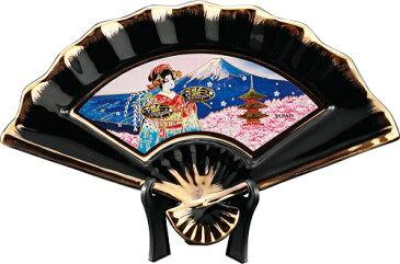 新彫金NEW CHOKIN ART 扇面絵柄皿(小)