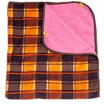 巻きスカート型ひざ掛け 上からマキコ 色はチェック×ピンクになります