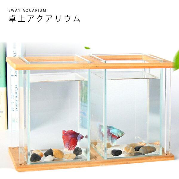 2WAY水槽アクアリウム金魚鉢卓上AQUARIUMすいそうおしゃれかわいいオブジェガラス四角長方形金魚メダカ熱帯魚(※中身は付い