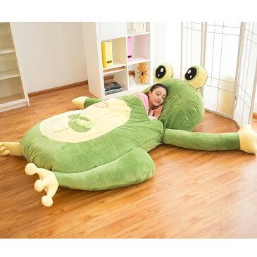 ソファー カエル クマ てんとう虫、ネコ、サル、5種類の可愛い動物 ぬいぐるみの中で眠れる布団 寝袋付き敷布団ソファ