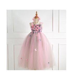 子供ドレス 女の子 ワンピース 可愛い花付き フォーマル ドレス 子供 パーティードレス ベビードレス 子供服 結婚式 発表会 お呼ばれ フラワーガール ドレス 子供 子供用 子ども ワンピース ノースリーブ パーティー pink ピンク