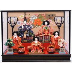 【雛人形】ケース五人飾り「金彩花車模様黒塗」【送料無料】