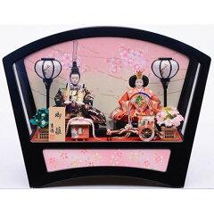 【雛人形】ケース親王飾り「枝桜模様扇形アクリル」【送料無料】